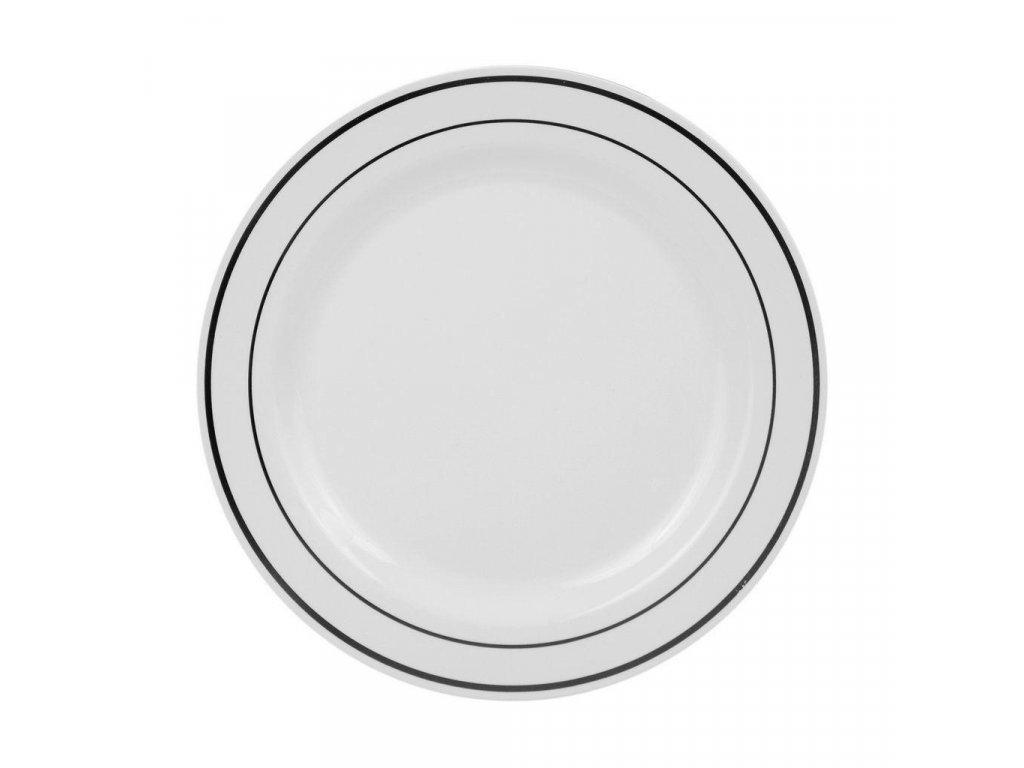 Bílý talíř se stříbrným pruhem 1,9cm