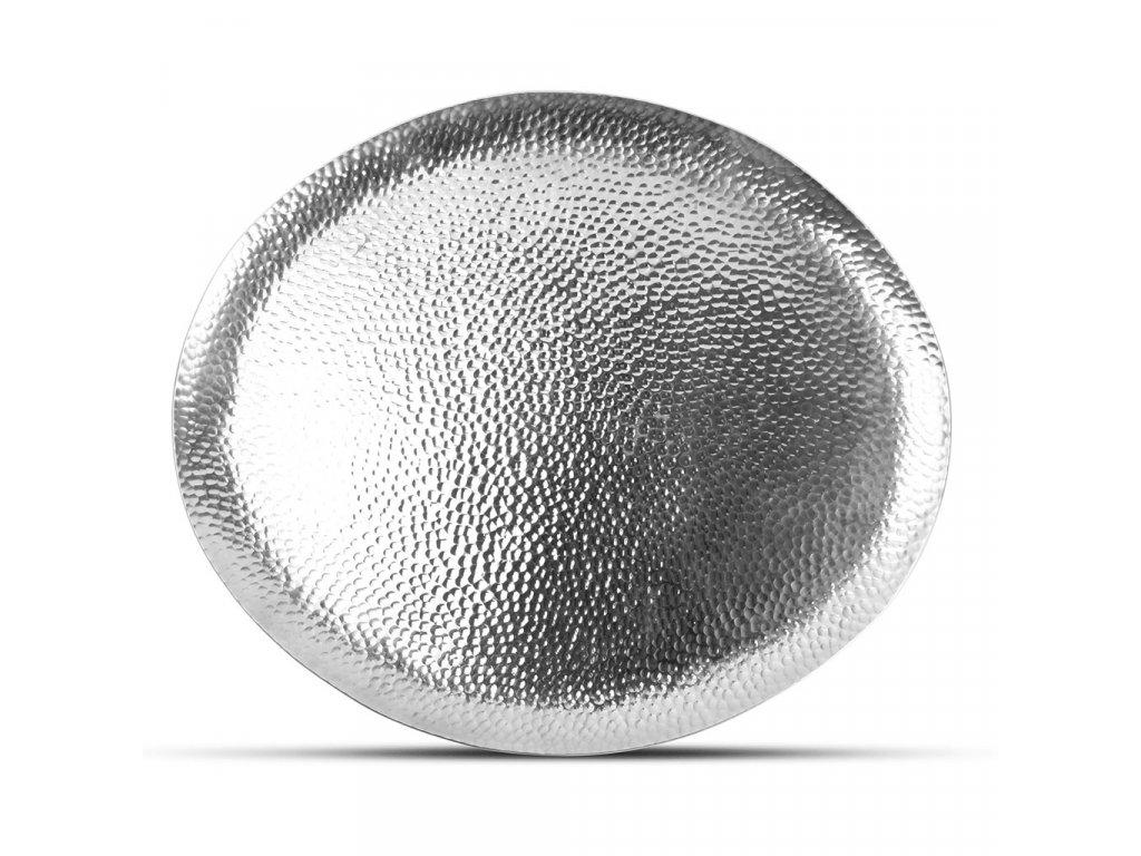 F2D Brass Serving dish 34x29cm oval metal silver 1ks