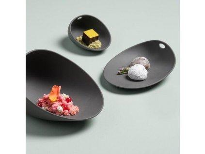 Cookplay Jomon porcelánový talíř S černý 14x11x4cm 1ks