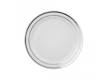 Bílý talíř se stříbrným pruhem 1,6cm