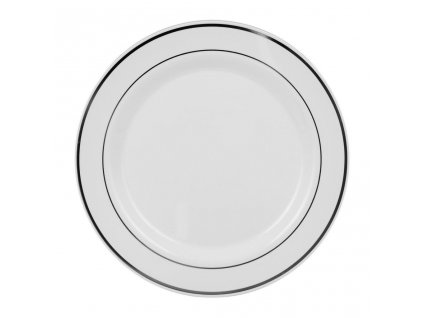 Bílý talíř se stříbrným pruhem 2,3cm