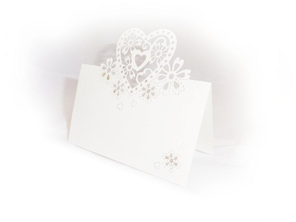 Svatební jmenovka na stůl - srdce (10 ks)