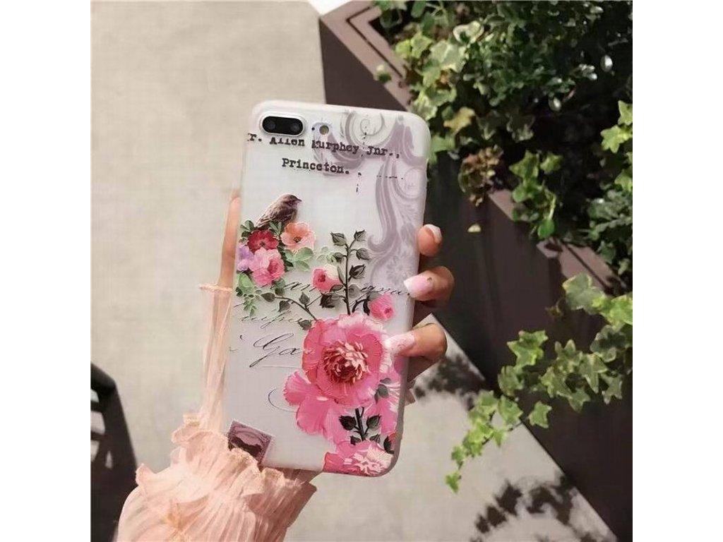 Silikónový kryt (obal) pre iPhone X/XS - kvet 2