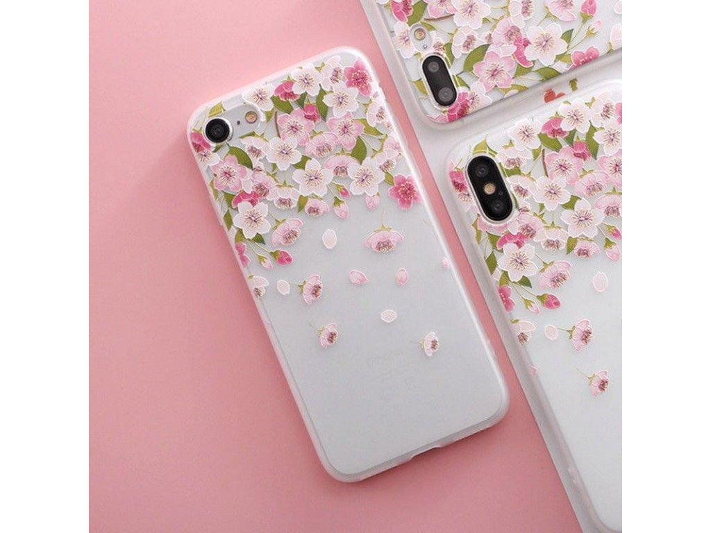 Silikónový kryt (obal) pre iPhone X/XS - kvet 3
