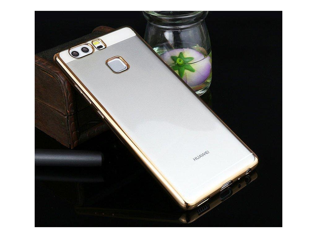 Silikónový kryt (obal) pre Huawei P8 Lite - priesvitný so zlatými okrajmi
