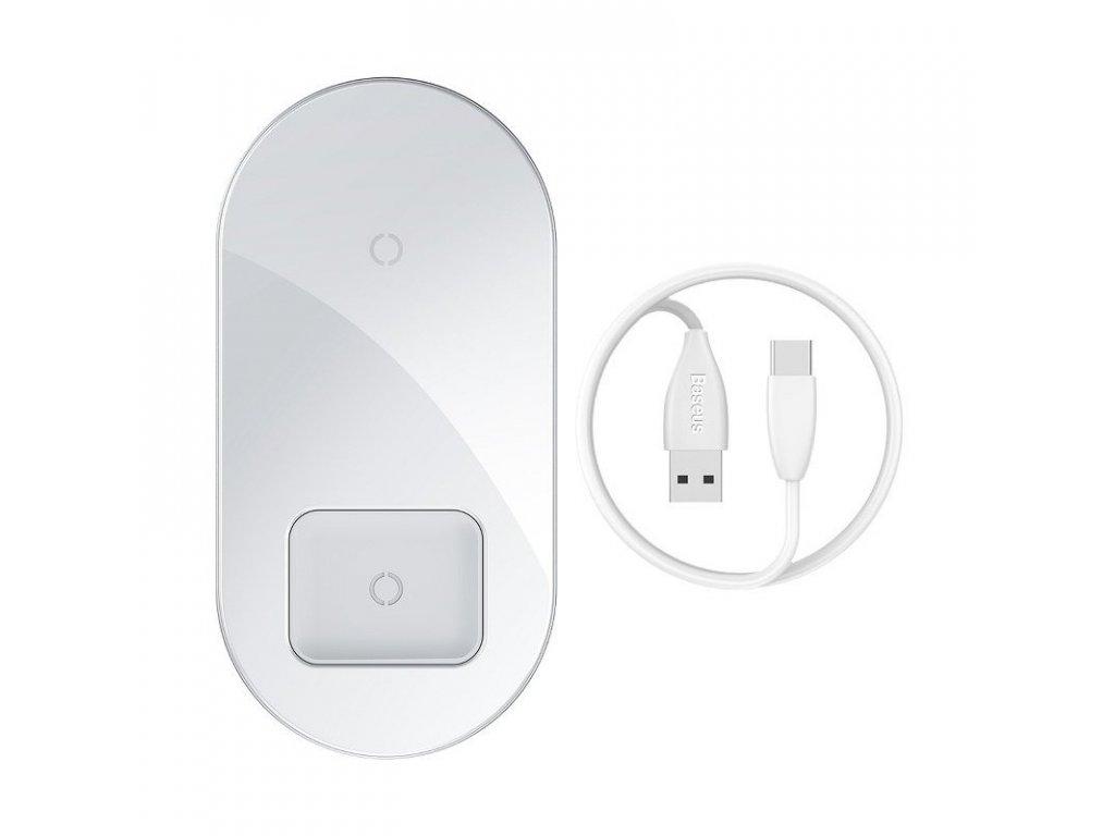 Baseus Simple 2v1 bezdrôtová nabíjačka - biela