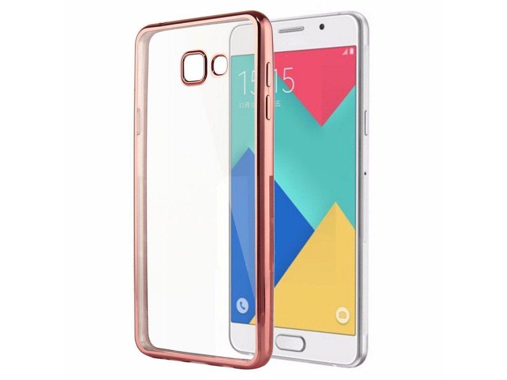 Silikónový obal na Samsung Galaxy A3 2017 priesvitný (s rose gold okrajmi)