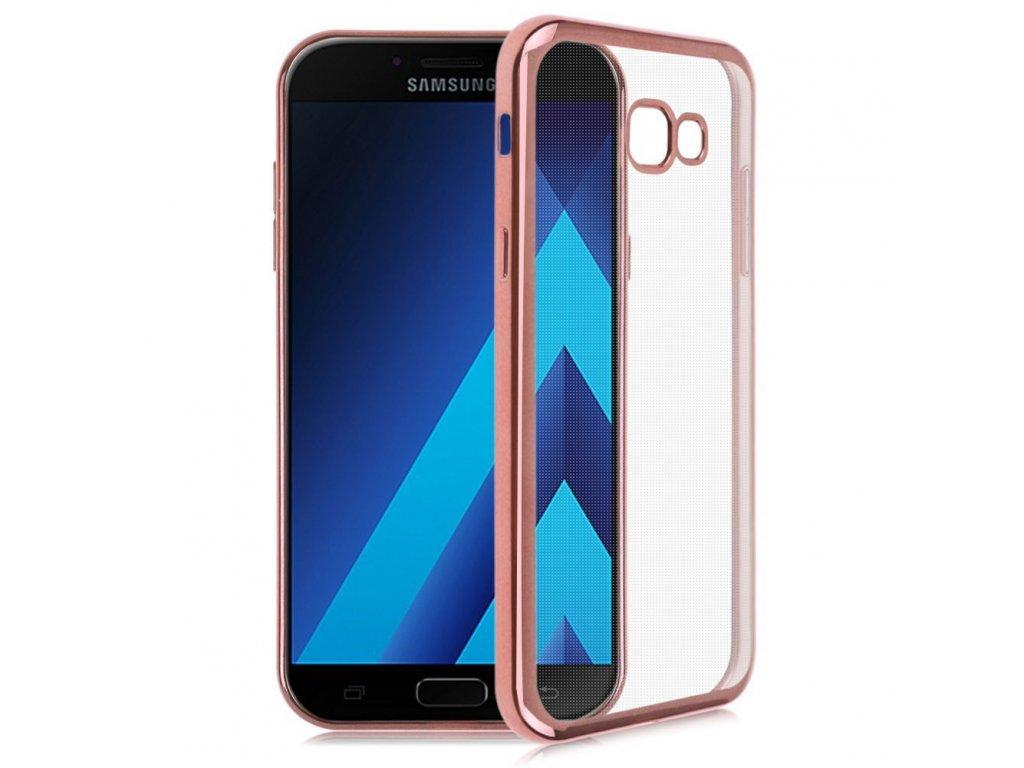 Silikónový kryt na Samsung Galaxy A5 2017 priesvitný (rose gold okraje)