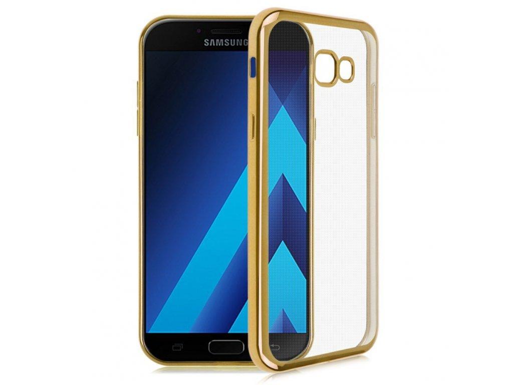 Silikónový kryt na Samsung Galaxy A5 2017 priesvitný so zlatými okrajmi