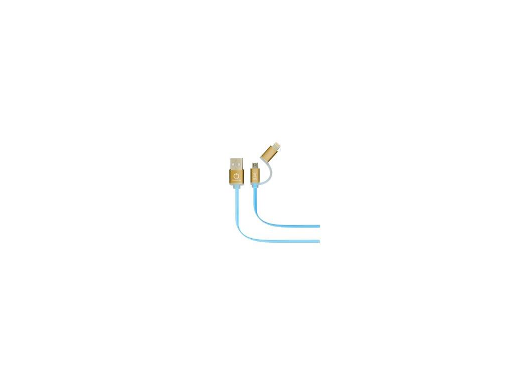 Dátový kábel POWERSTAR 2v1 - modro-zlatý
