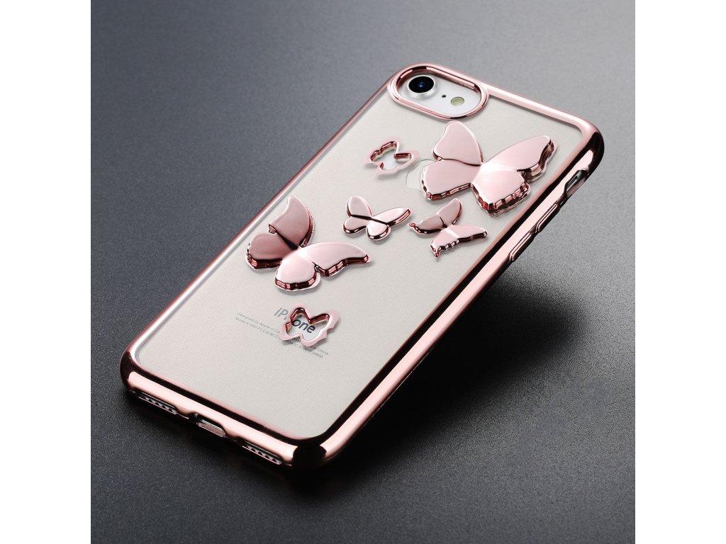 Silikónový kryt pre Iphone 6/6S - rose gold s motýlikmi