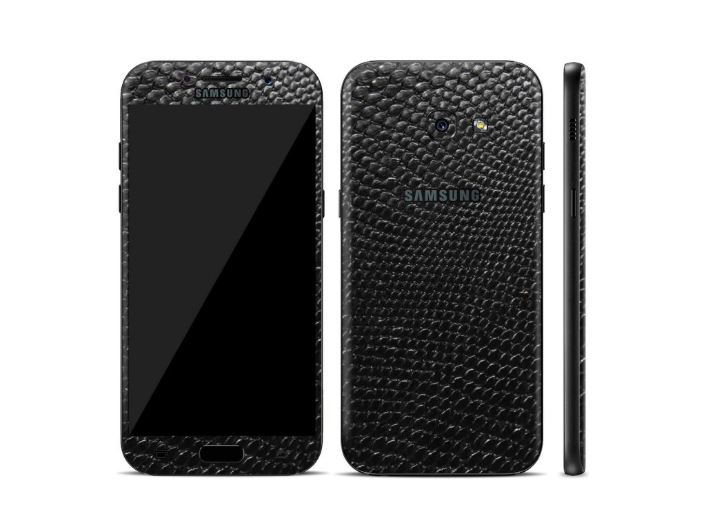 Dizajnová wrap fólia pre Samsung A3 2017 (A320F) - čierna (vzor hadej kože)