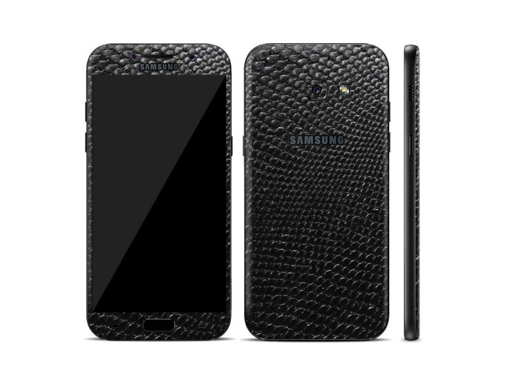Dizajnová wrap fólia pre Samsung A5 2017 (A520F) - čierna (vzor hadej kože)