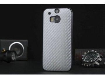 Plastový kryt (obal) pre HTC One M9 - silver (strieborný) - vrúbkovaný