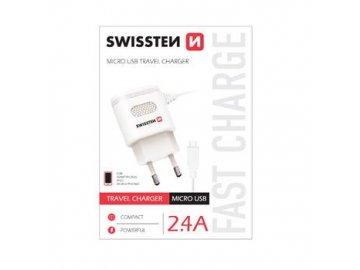 Swissten Micro USB univerzálna sieťová nabíjačka - biela