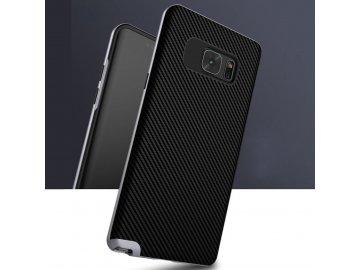 Gumový kryt (obal) pre Samsung Galaxy Note 7 - čierny so striebornými okrajmi