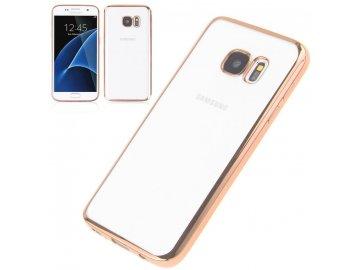 Silikónový kryt (obal) pre Samsung Galaxy S6 Edge Plus - priesvitný so zlatými okrajmi