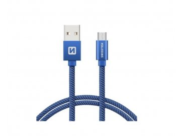 swissten data cable textile blue