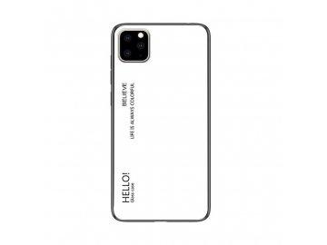 Silikónový kryt (obal) pre iPhone 11 Pro Max so sklenenou zadnou stranou - biely