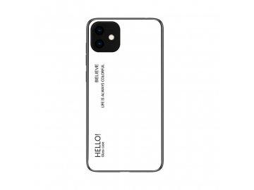 Silikónový kryt (obal) pre iPhone 11 so sklenenou zadnou stranou - biely