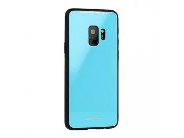 Silikónový kryt (obal) pre Huawei P smart so sklenenou zadnou stranou - modrý