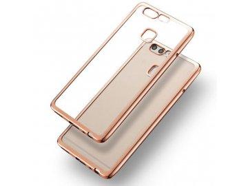 Silikónový kryt (obal) pre Huawei P9 - priesvitný so zlatými okrajmi
