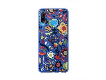 Puzdro (obal) Huawei Floral Blue pre P30 Lite - modré
