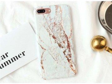 Silikónový kryt (obal) pre iPhone X/XS - mramor bielo-zlatý