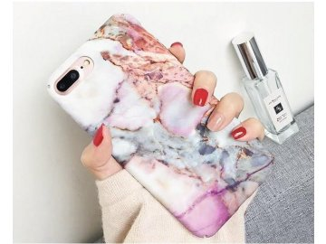 Plastový kryt (obal) pre iPhone X/XS - mramor ružovo-šedý