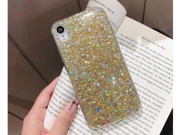 Plastový kryt (obal) pre iPhone 5/5S/SE - zlaté trblietky