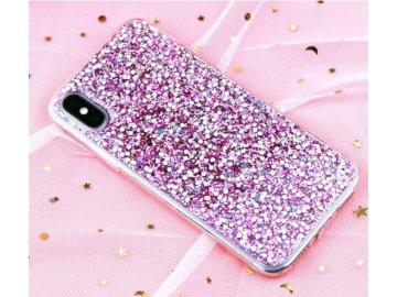 Plastový kryt (obal) pre iPhone 5/5S/SE - fialové trblietky