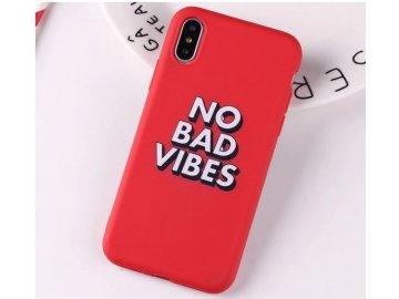 Silikónový kryt (obal) pre iPhone 7/8 - NO BAD VIBES (červený)