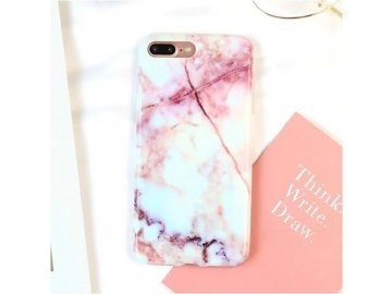 Silikónový kryt (obal) pre iPhone 6+/6S+ (Plus) - mramor bielo-ružový