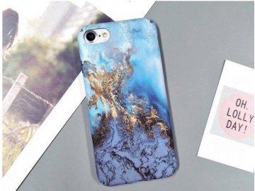 Plastový kryt (obal) pre iPhone 7+/8+ (Plus) - mramor modro-zlatý