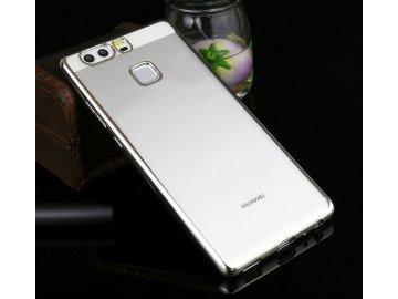 Silikónový kryt (obal) pre Huawei P8 Lite - priesvitný so striebornými okrajmi
