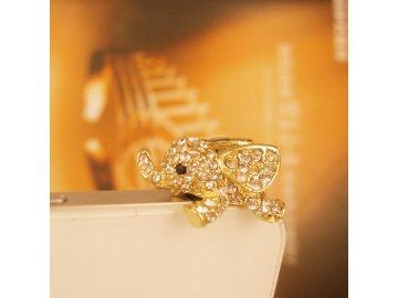 Protiprachová (anti dust) jack ozdoba - zlatý sloník