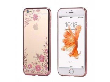 Silikónový kryt (obal) Diamond Flower pre Xiaomi Mi 8 - ružovo zlatý