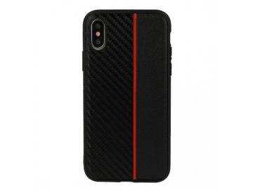 Moto Carbon plastový kryt (obal) pre Huawei Y6 2018 - čierny s červeným prúžkom