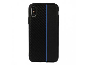 Moto Carbon plastový kryt (obal) pre Huawei Y5 2018  - čierny s modrým prúžkom