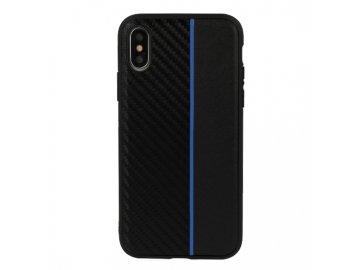 Moto Carbon plastový kryt (obal) pre Huawei Y6 2018  - čierny s modrým prúžkom