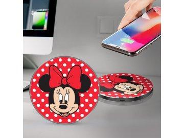 Disney Minnie bezdrôtová nabíjačka - červená