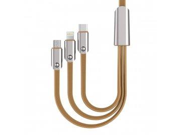 AWEI CL-21 USB kábel 3 v 1 - zlatý