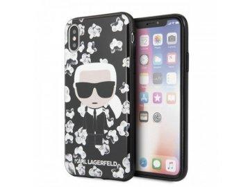 Karl Lagerfeld Iconic Flower kryt (obal) pre iPhone X/XS - čierny