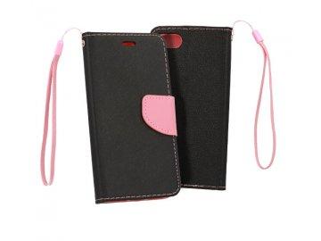 Flip Case (puzdro) Fancy pre Samsung Galaxy A40 - čierno-ružové