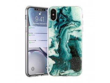 Vennus Marble Stone silikónový kryt (obal) pre Samsung Galaxy A80 - zelený s trblietkami