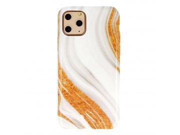 Vennus Marble Stone silikónový kryt (obal) pre iPhone 11 Pro - bielo-žltý