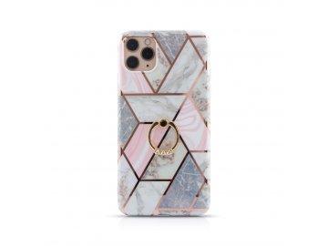 Silikónový kryt (obal) pre Samsung Galaxy A51 - ružový mramor s prsteňom