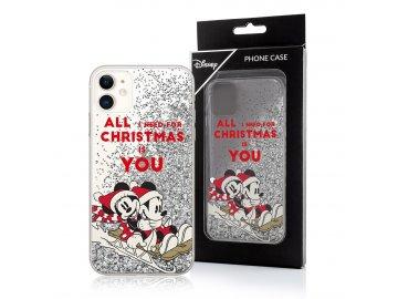 Disney zadný kryt (obal) pre iPhone 7+/8+ (Plus) s presýpacími trblietkami - vianočný Mickey a Minnie