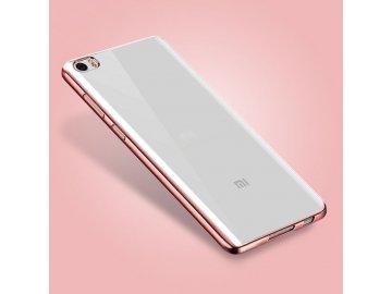 Silikónový kryt (obal) pre Xiaomi Redmi 3 - priesvitný s rose gold okrajmi