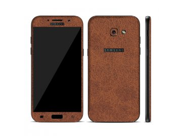 Dizajnová wrap fólia pre Samsung A3 2017 (A320F) - hnedá (vzor kože)